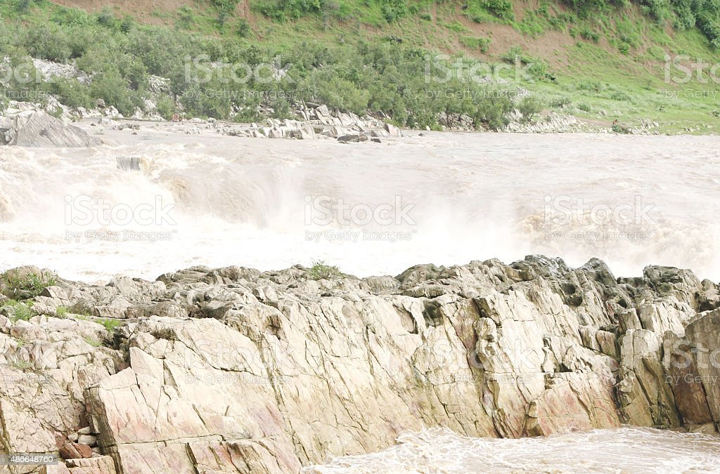 Marble rocks near Dhuandhar falls, Jabalpur stock photo