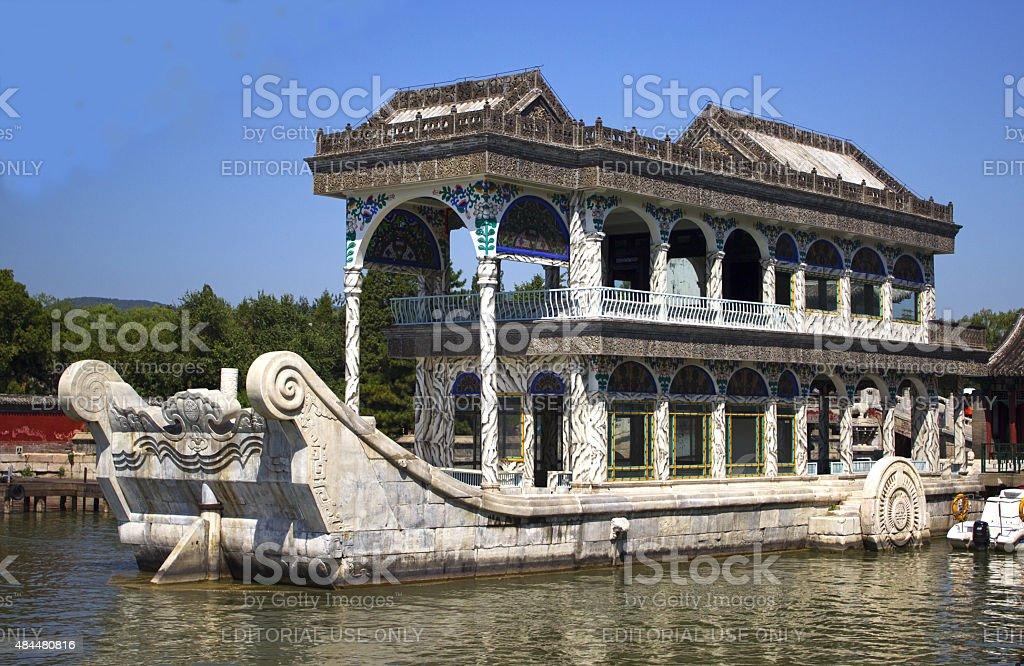 Marble ship at Summer Palace stock photo