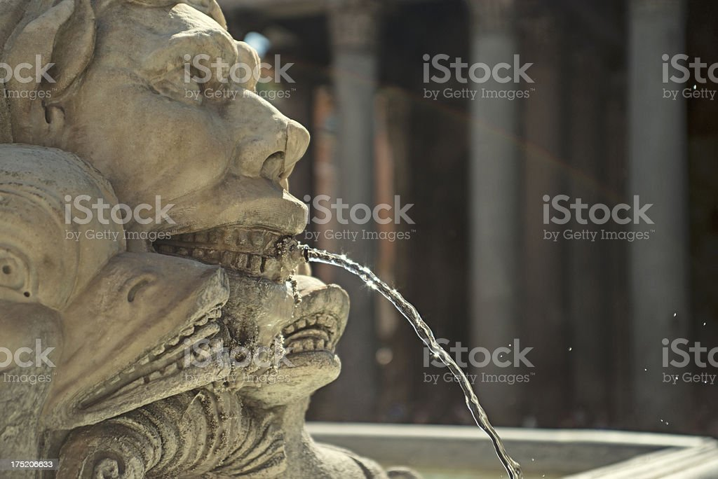 Marble Statue: fountain in front of the Pantheon royalty-free stock photo