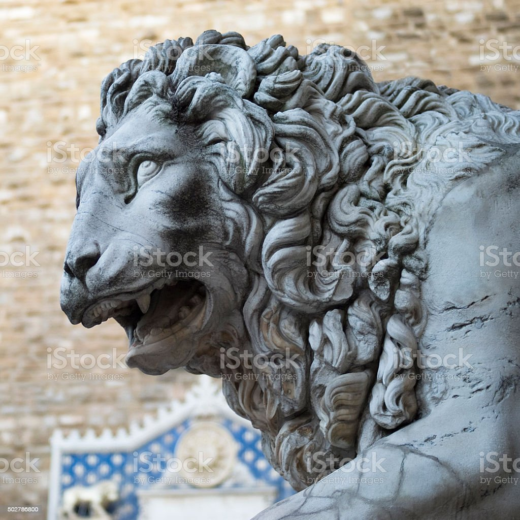 Marble statue of lion, Florence stock photo