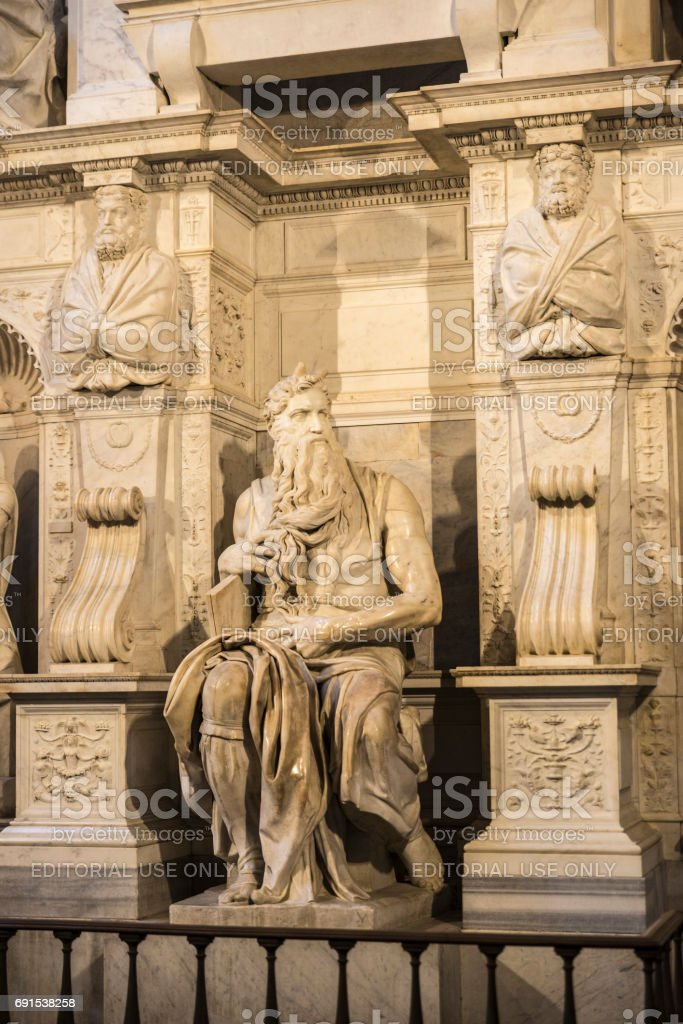Marble statue of Moses sculpted by Michelangelo in Rome, Italy stock photo