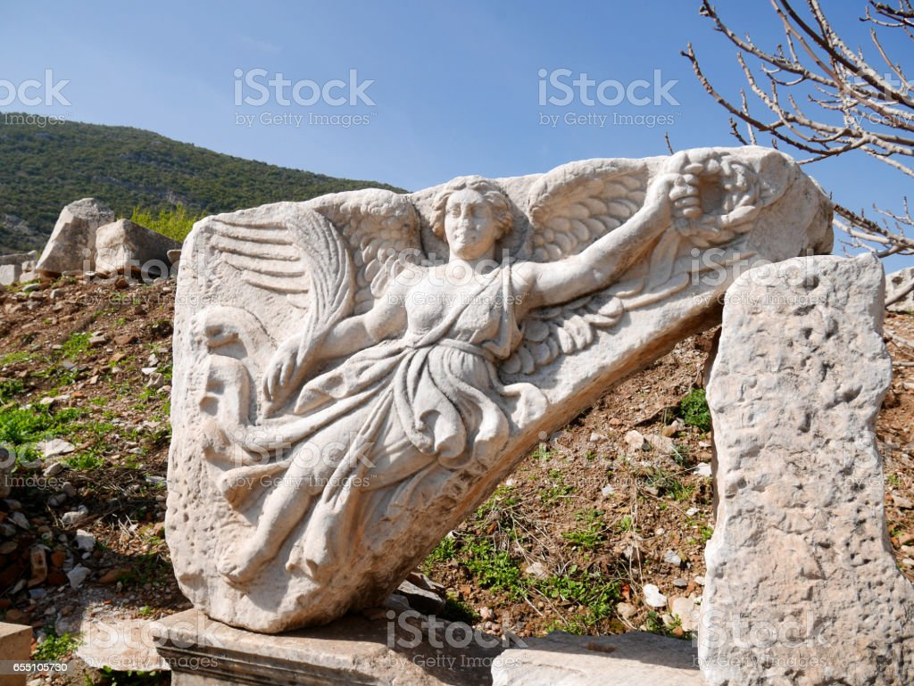 Marble Statue of Nike, the Goddess of Victory, at Ephesus, Turkey stock photo