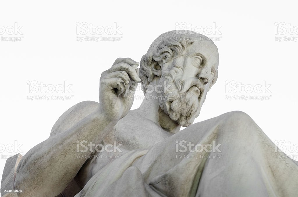 Marble Statue of the Ancient Greek Philosopher Plato on White stock photo