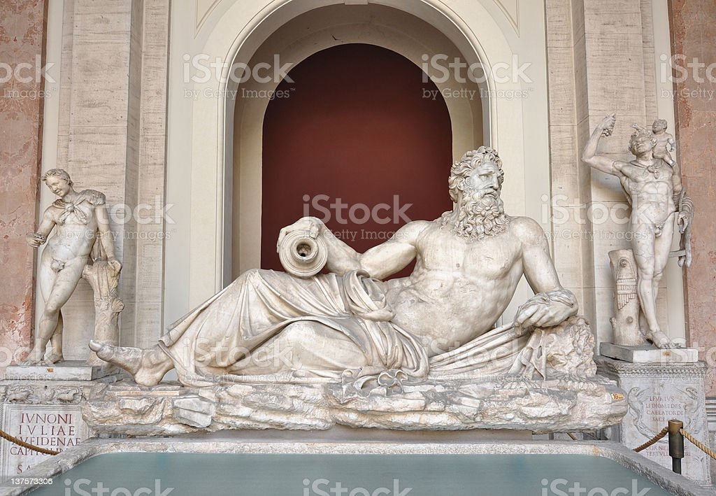 Marble statue of the Tigris River God from 2nd century stock photo