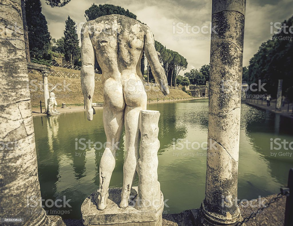 Marble statues at Canopus of Villa Adriana stock photo