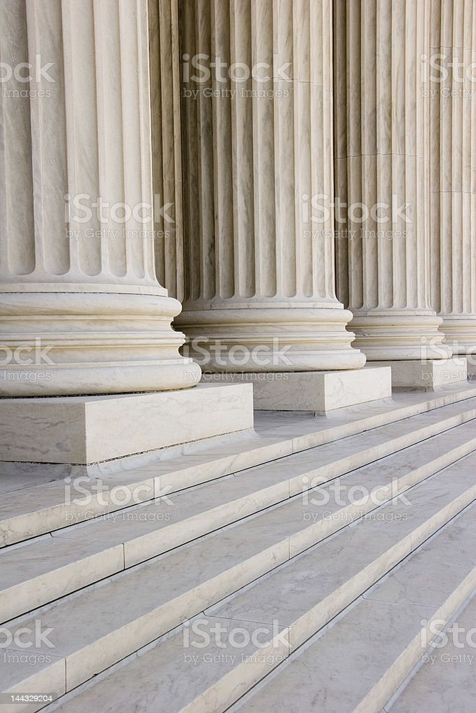 Marble steps and columns stock photo