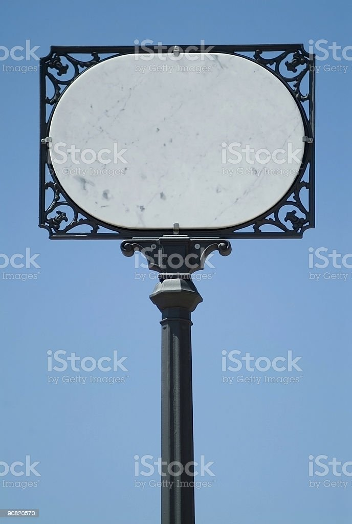 Marble street sign stock photo