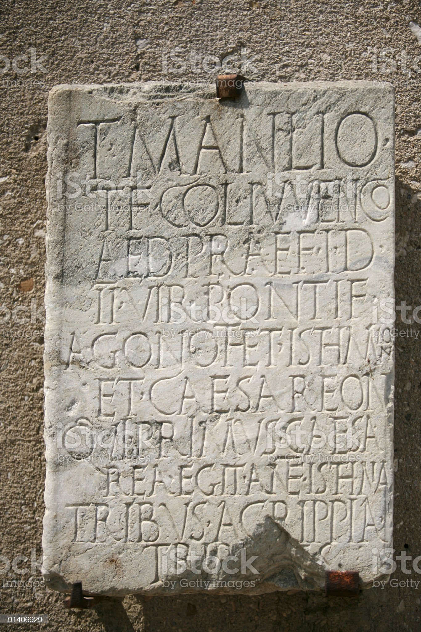 Marble tablet on display in Ancient Corinth, Greece royalty-free stock photo