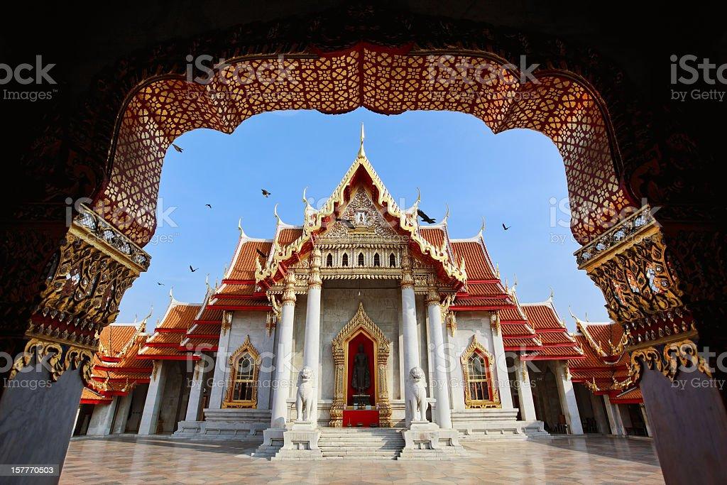 Marble Temple (Wat Benchamabophit), Bangkok, Thailand. stock photo