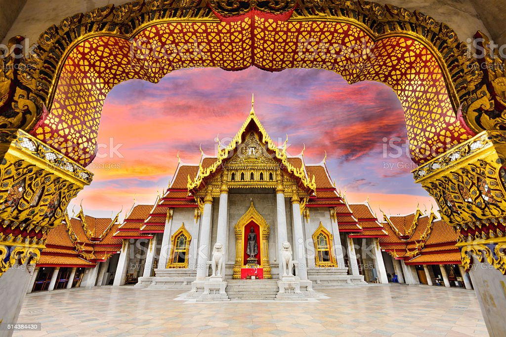 Marble Temple of Bangkok stock photo