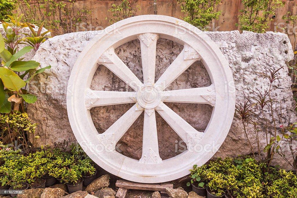 Marble Thammachak (Wheel of Dhamma) , symbol of Buddhism, Phuket stock photo