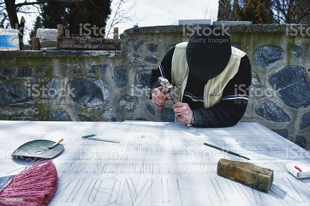 Marble Worker, Tombstone royalty-free stock photo