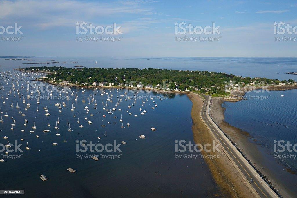 Marblehead Harbor - Massachusetts Aerial stock photo