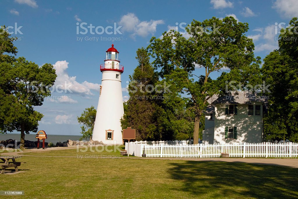 Marblehead Lighthouse and fence stock photo