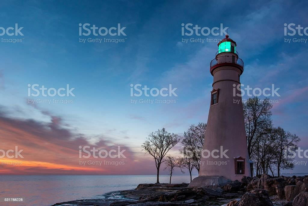 Marblehead Lighthouse at Dawn stock photo