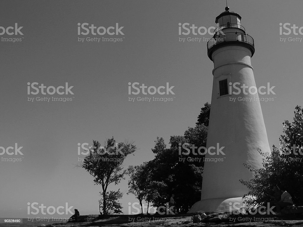 Marblehead Lighthouse in B&W stock photo