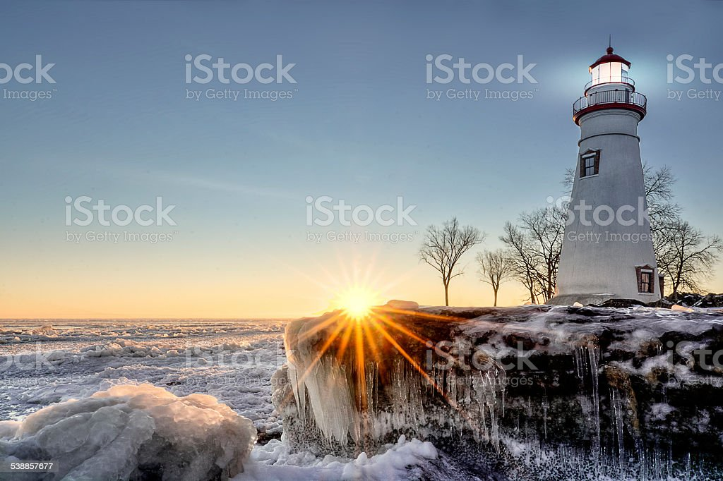 Marblehead Lighthouse Winter Sunrise stock photo