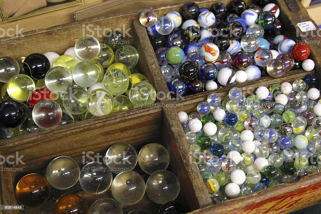Marbles in Tray stock photo