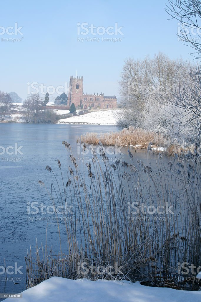 Marbury church and mere royalty-free stock photo