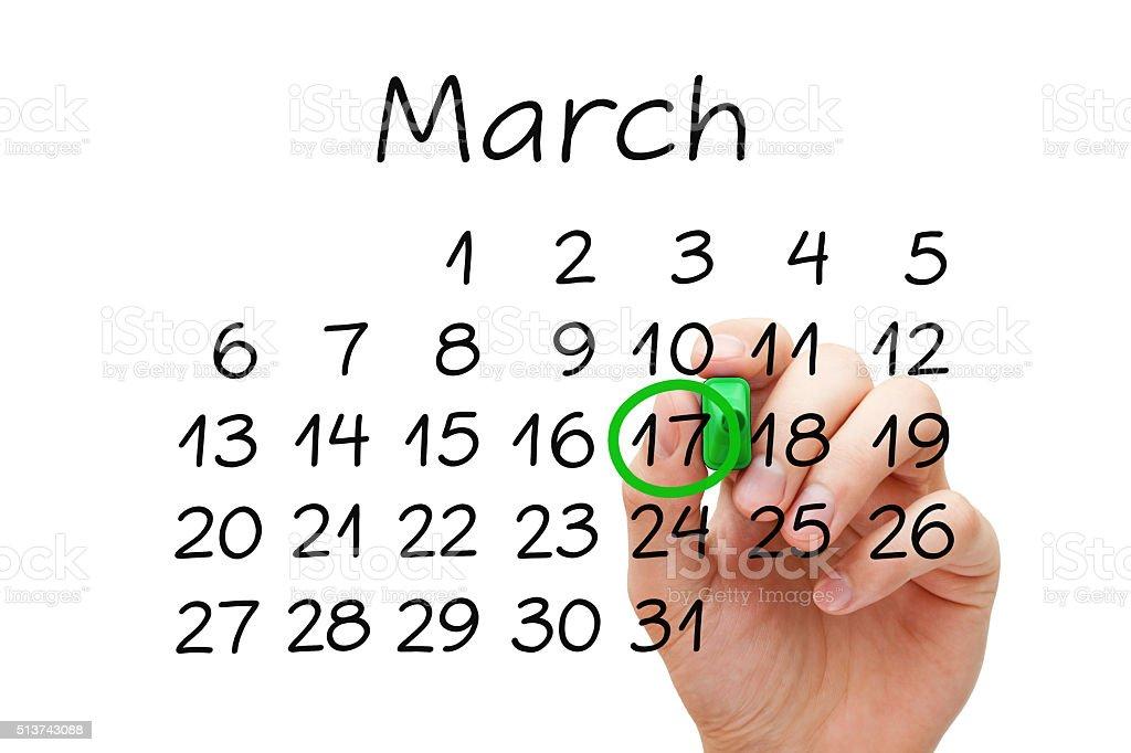 March 17 Saint Patricks Day Calendar Concept stock photo