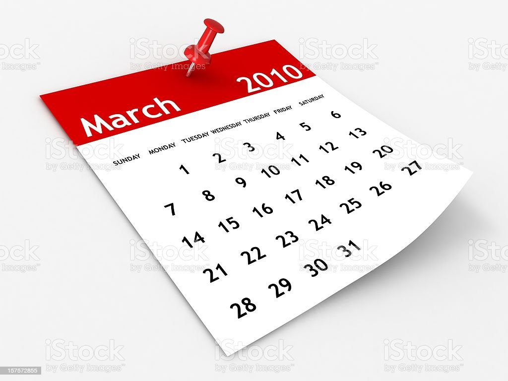 March 2010 - Calendar series royalty-free stock photo