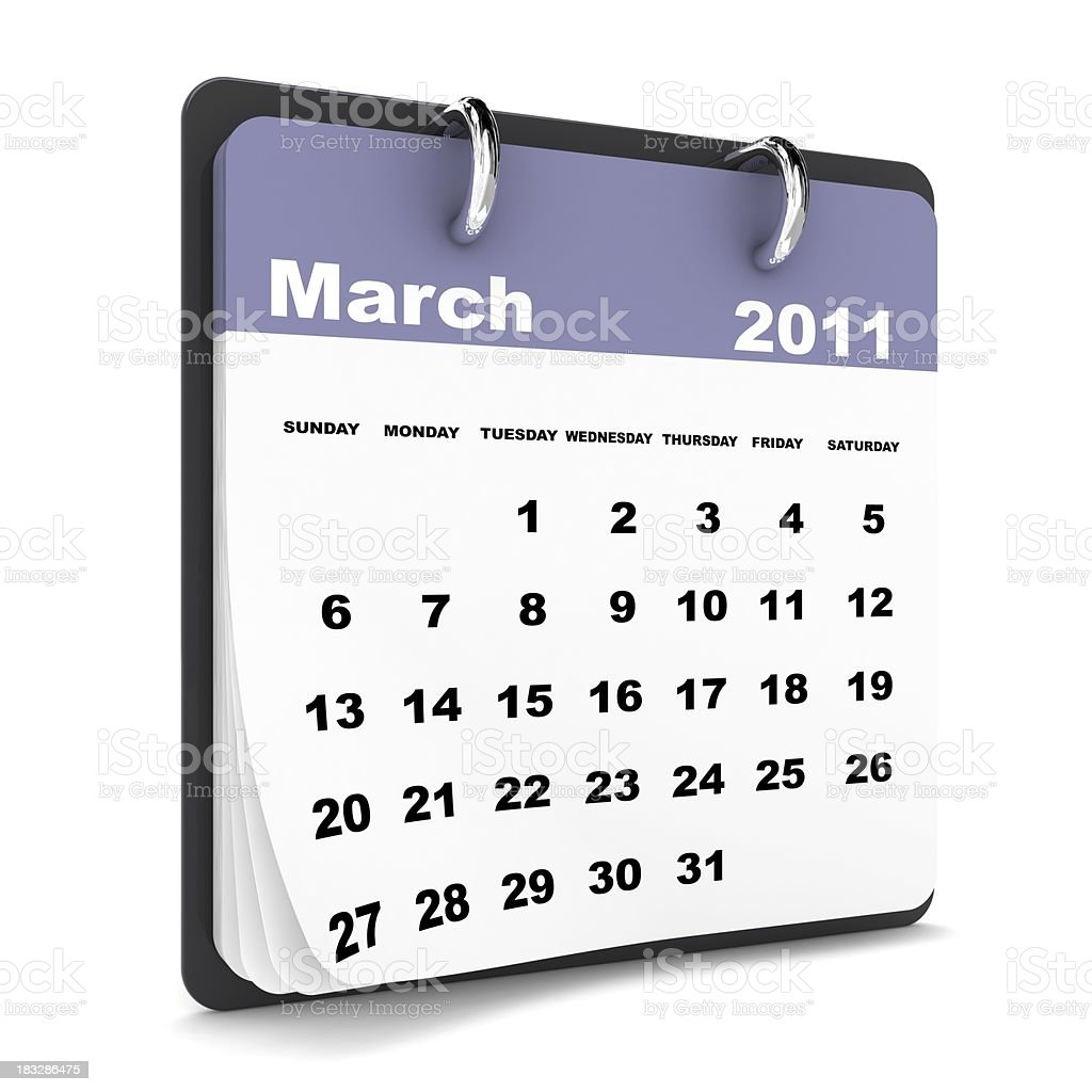 March 2011 - Calendar series royalty-free stock photo