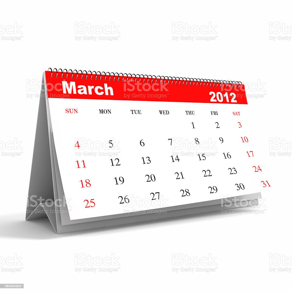 March 2012 - Calendar series royalty-free stock photo