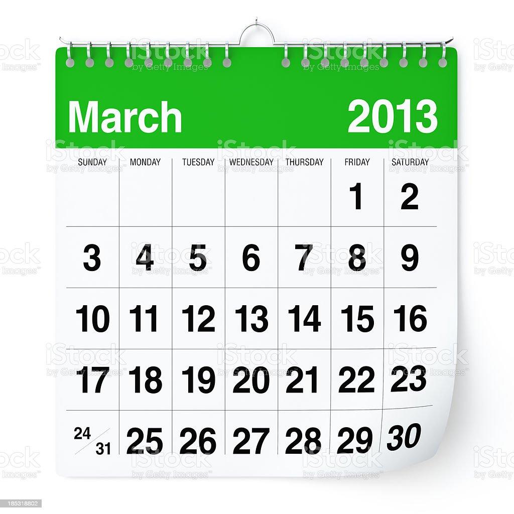 March 2013 - Calendar royalty-free stock photo