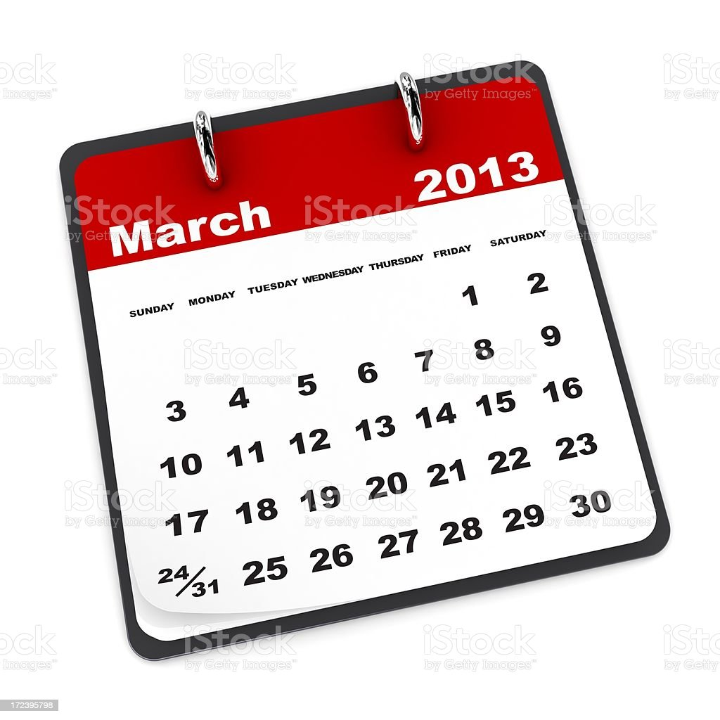 March 2013 - Calendar series royalty-free stock photo