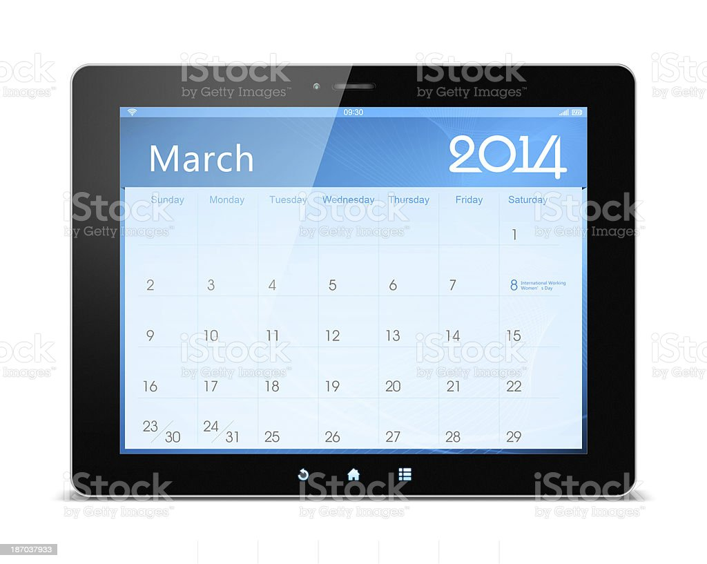 March 2014 Calender on digital tablet royalty-free stock photo