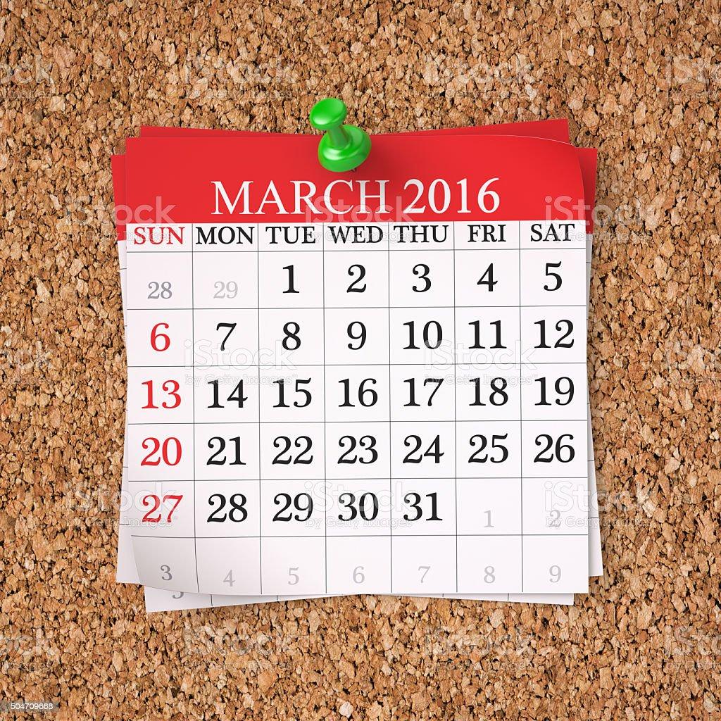 March 2016  Calendar stock photo