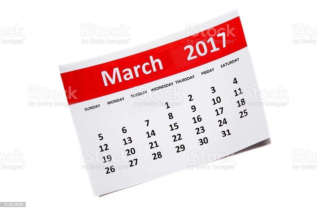 March  2017 Calendar stock photo