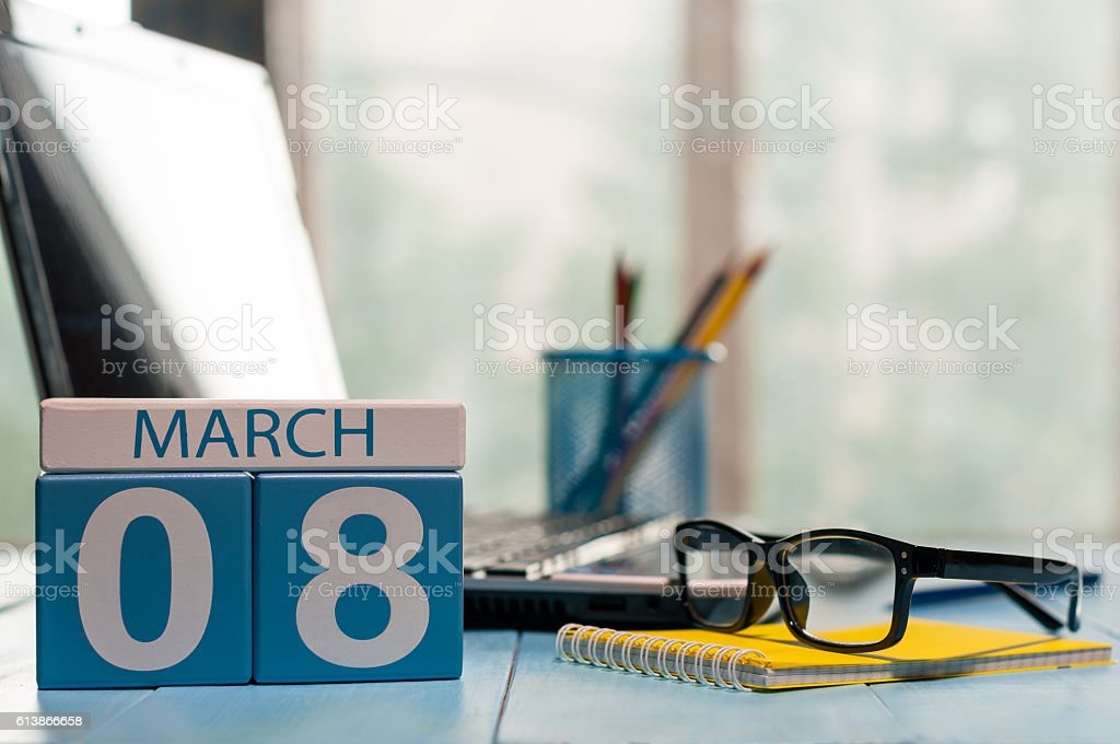 March 8th. Day 8 of month, calendar on business office stock photo