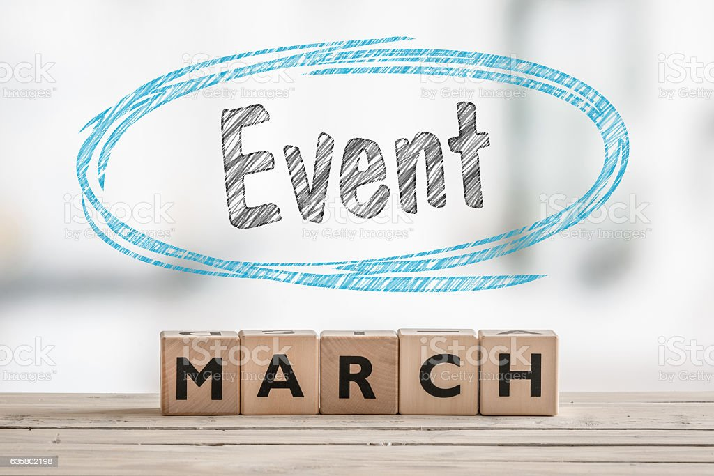 March event with a wooden sign stock photo