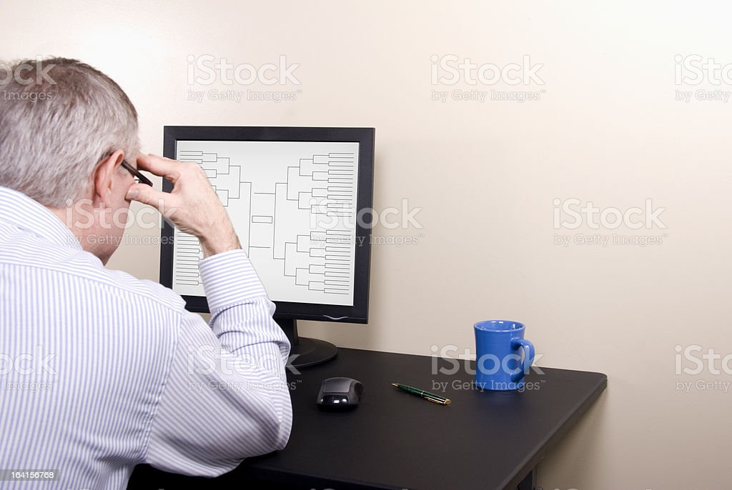 March Madness Man Deep in Thought in Shirt royalty-free stock photo