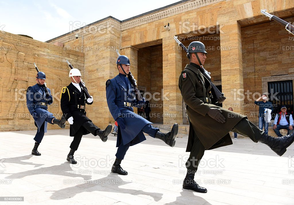 march march - Turkish soldiers walking in Anitkabir stock photo