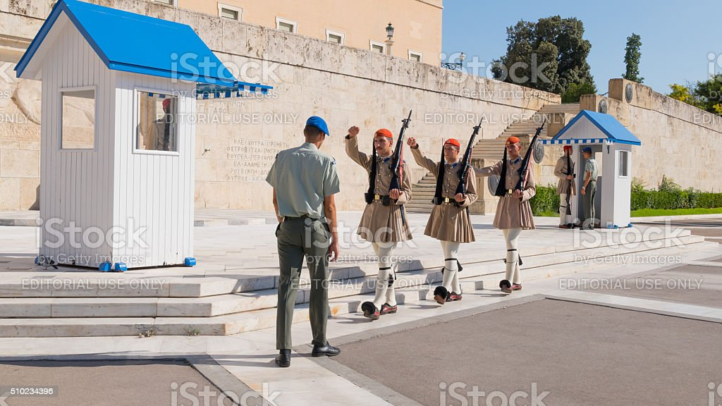 March of honor guard in front Parliament, Athens stock photo