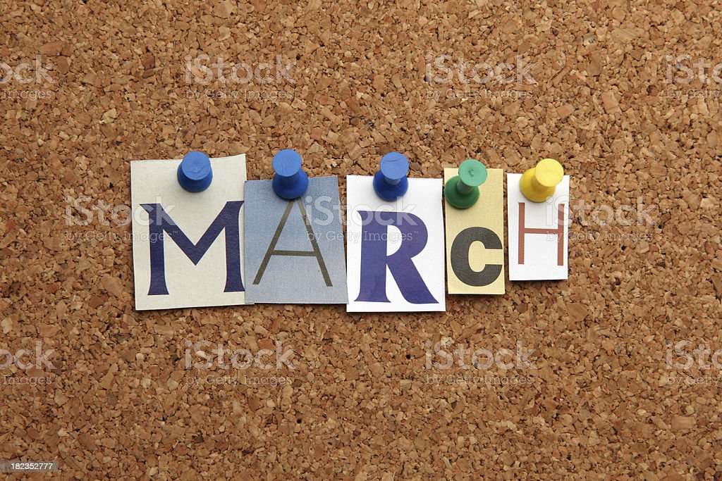 March pinned on noticeboard royalty-free stock photo