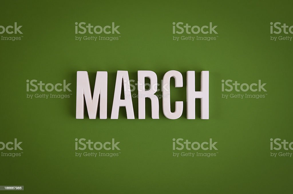 March sign lettering stock photo