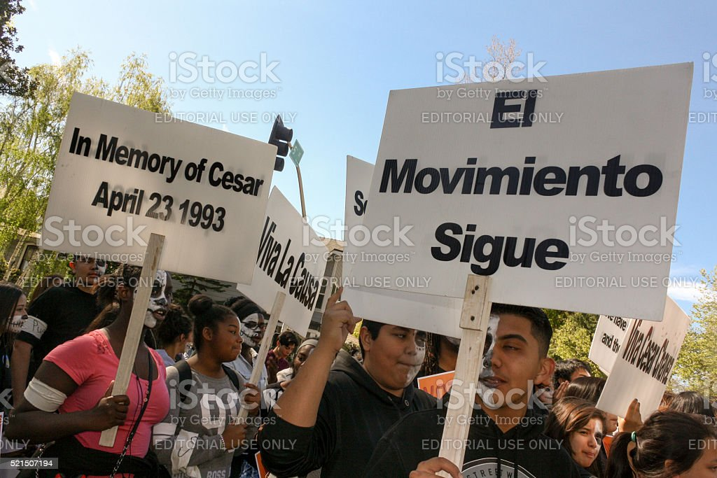 March to Honor Cesar Chavez stock photo