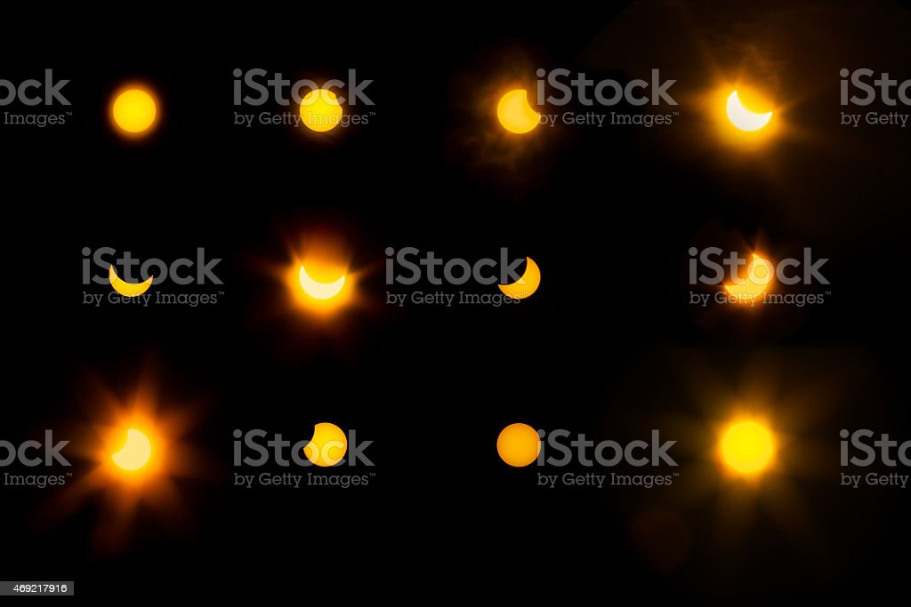 march twenty 2015 solar eclipse sequence and  phases stock photo