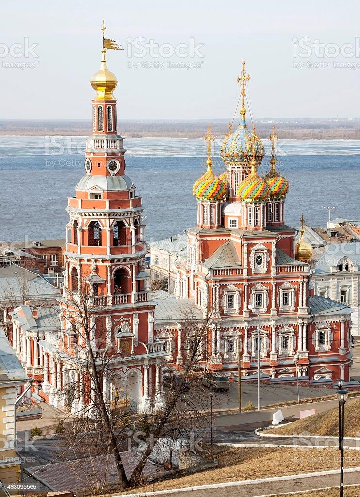 March view Stroganov Church Nizhny Novgorod stock photo
