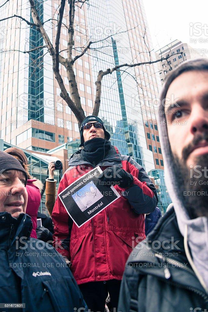 Marche republicaine silencieuse 'Je suis Charlie' a Montreal. stock photo