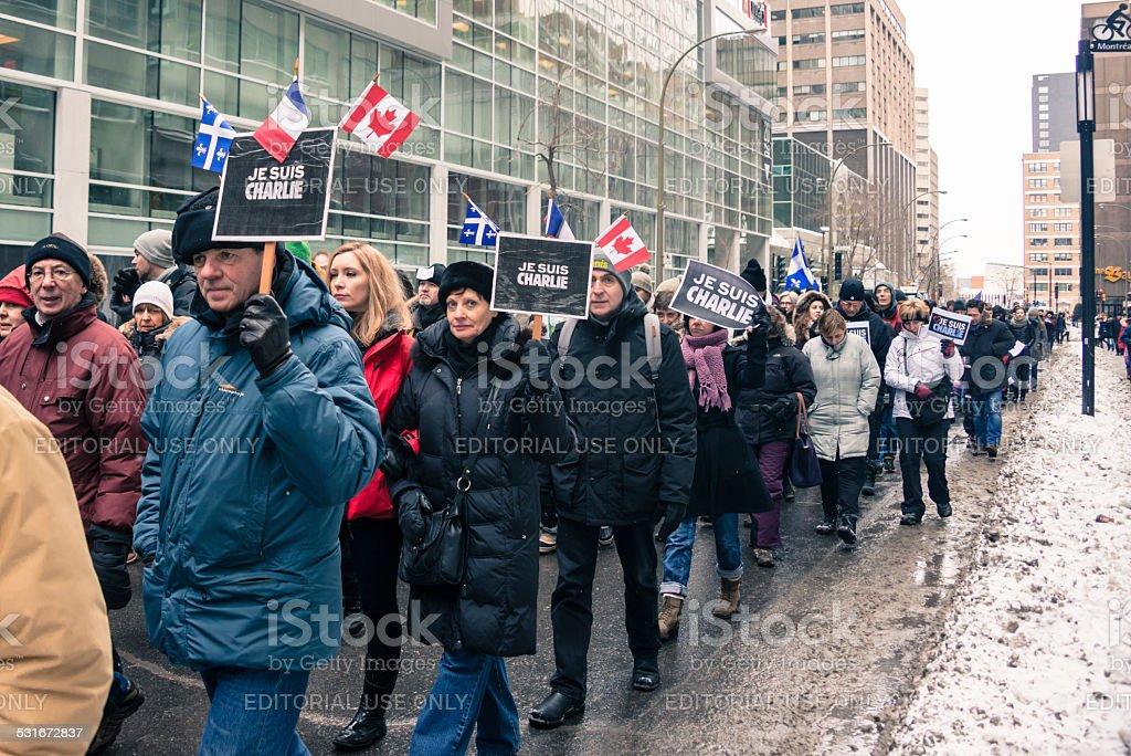 Marche republicaine silencieuse Je suis Charlie a Montreal. stock photo
