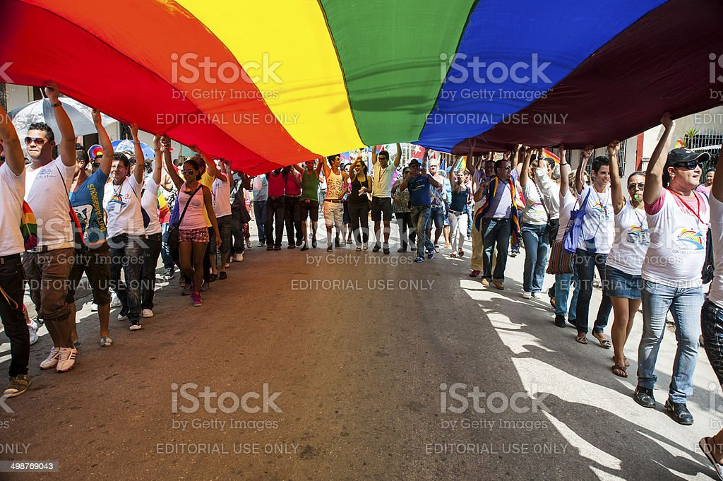 Marchers carry the Gay Pride flag stock photo