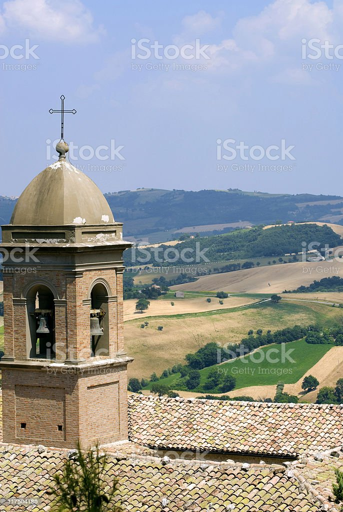 Marches (Italy) - Panorama from Arcevia at summer with belfry royalty-free stock photo