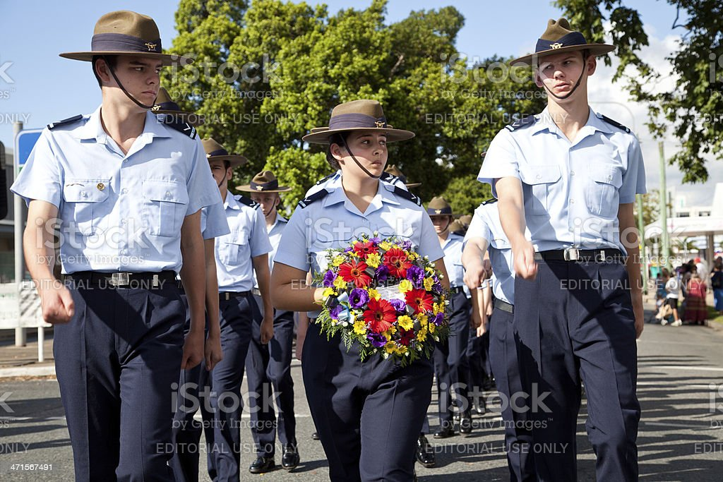 Marching Air Force Cadets stock photo