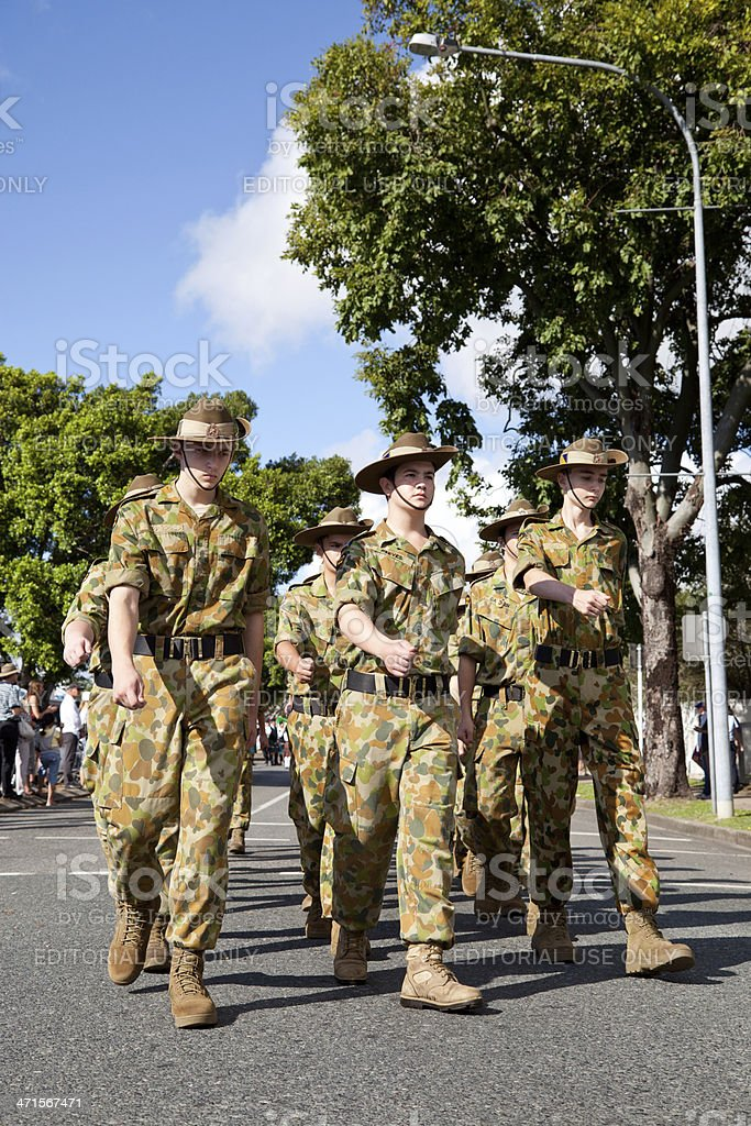 Marching Army Cadets stock photo