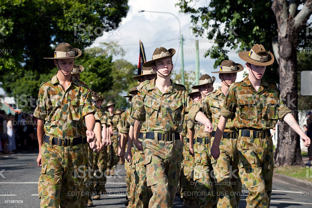 Marching Australian Soldier Cadets Anzac Day stock photo