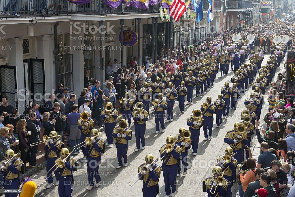 Marching Band at Mardi Gras stock photo